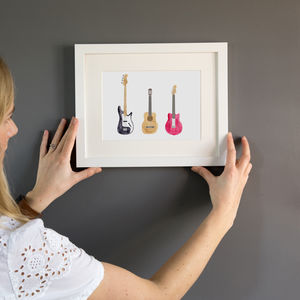 Bass Acoustic And Electric Guitar Illustration Print