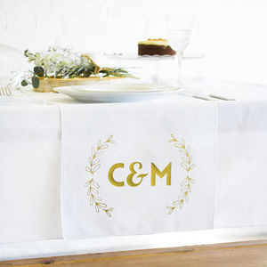 Wedding Top Table Couples Initials Table Runner - decoration