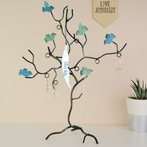 Personalised Bird Tree Jewellery Stand Two Colours