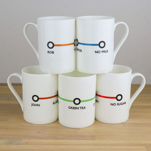 Personalised Tea/Coffee China Cup Retro Station Design - dining room