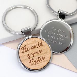 Personalised The World Is Your Oyster Keyring