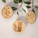 Personalised Wooden Bauble With Your Drawing Engraved