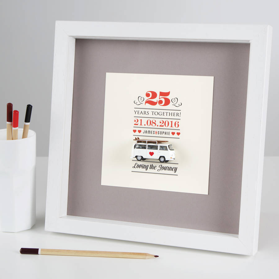 Mini Camper Van Wedding Anniversary Box Frame