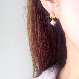 Small Bee Studs Earrings With Fresh Water Pearls