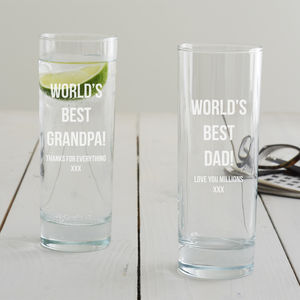 Personalised 'Best Dad' Hi Ball Glass - kitchen