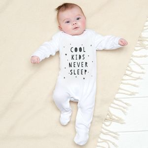Cool Kids Never Sleep Baby Grow - the 'no pink or blue' children's collection