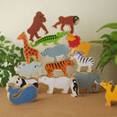 Set Of Wooden World Animals