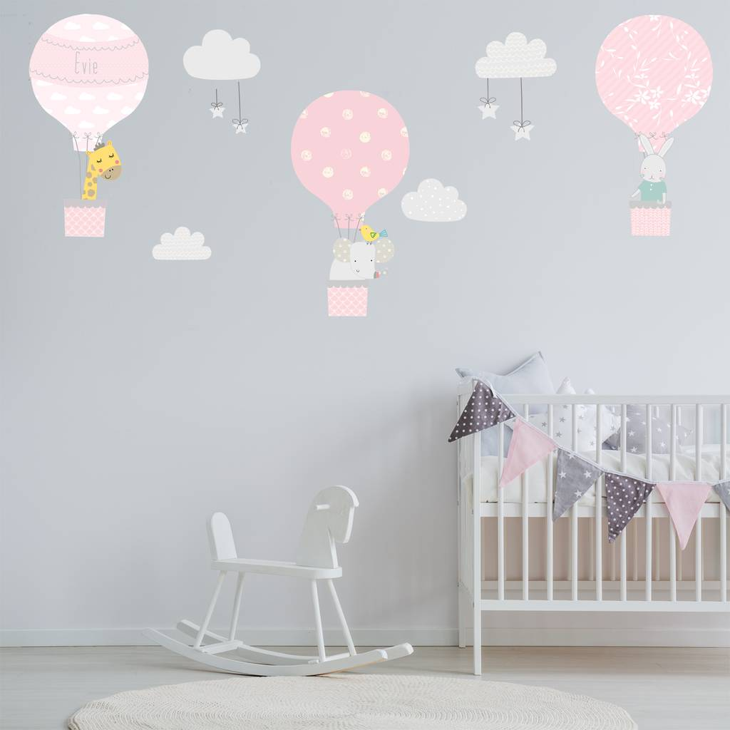 Pink Hot Air Balloon Fabric Wall Stickers By Littleprints