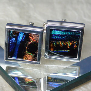 Dichroic Glass Sterling Silver Cufflinks - men's accessories