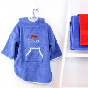Personalised Boys Hooded Fire Engine Poncho