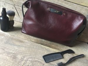 Large Plum Brown Leather Wash Bag