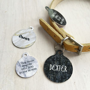 Personalised Pet ID Tag Marble - dogs