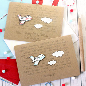 Personalised Aeroplane 'Bon Voyage' Goodbye Card - leaving cards