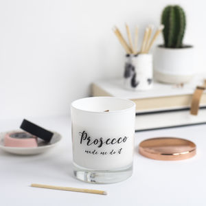 'Prosecco Made Me Do It' Luxe Soy Wax Candle - christmas lighting
