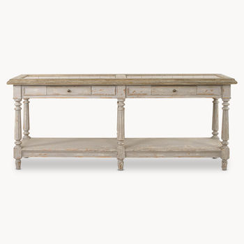 Woodcroft Colonial Grey Oak And Stone Top Console