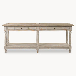 Woodcroft Colonial Grey Oak And Stone Top Console - storage & organisers