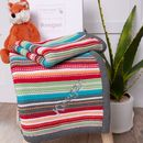 Personalised Rainbow Stripes Cotton Baby Blanket