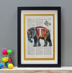 Personalised Elephant Letter Print - christening gifts