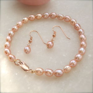 9ct Rose Gold And Pink Pearl Bracelet And Earrings Set