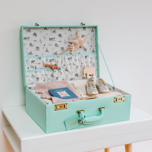 Personalised Memory Suitcase Keepsake Box Gift Set - christening gifts