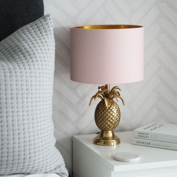 Gold Brass Pineapple Table Lamp With Blush Lampshade