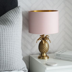 Brass Pineapple Table Lamp With Blush Lampshade - lighting