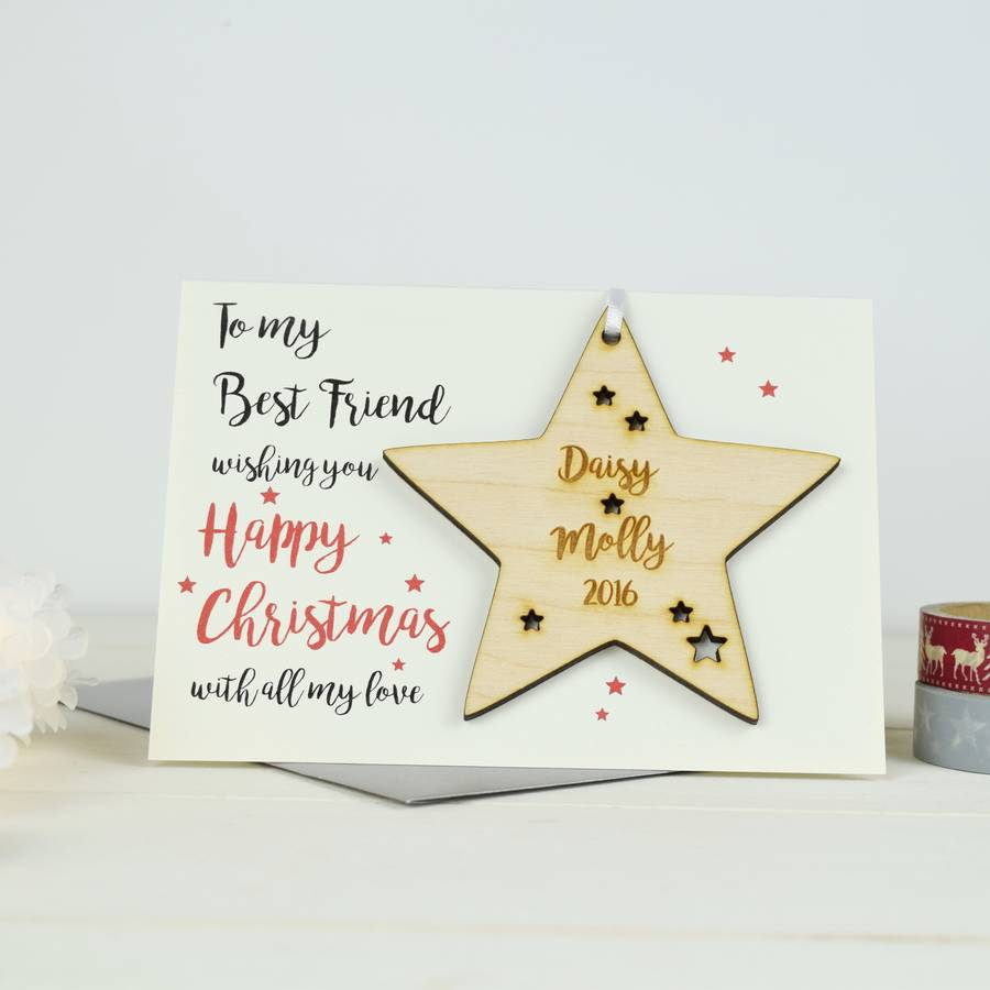 personalised best friends christmas card