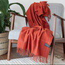 Personalised Recycled Wool Blanket In Rust Check