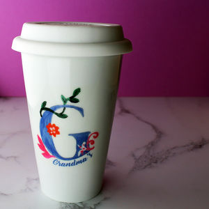 Hand Painted Personalised Initial Travel Mug - tableware