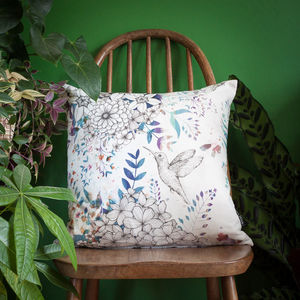 Hummingbird Blossom Floral Throw Cushion - patterned cushions