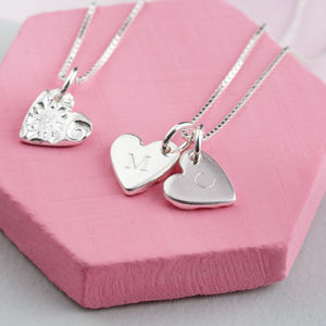 Personalised Handmade Engraved Silver Hearts Necklace