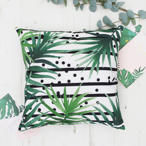 Leaves And Stripes Botanical Cushion - bedroom