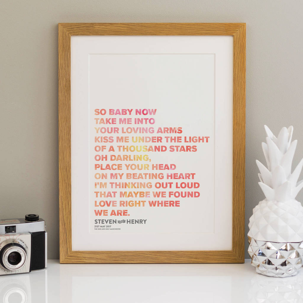 Wedding gift song lyrics print by a is for alphabet wedding print gift lyrics personalised jeuxipadfo Gallery