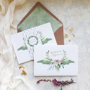 Blush Foliage Tri Fold Wedding Invitation