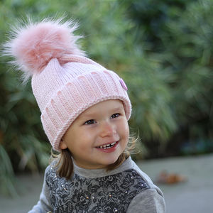 Pink Beanie Hat With Removable Faux Fur Pom Pom - children's accessories