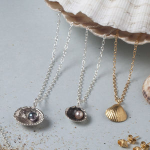 Silver Sea Shell And Pearl Pendant