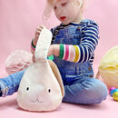 Easter Hunt Fabric Bunny Bag With Fluffy Tail