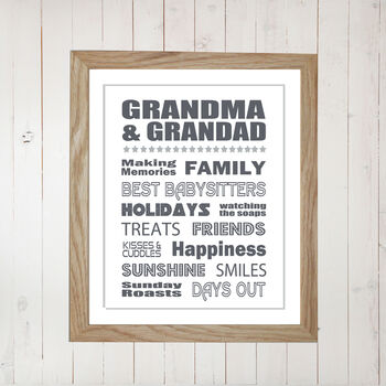 Personalised Grandma And Grandad Print