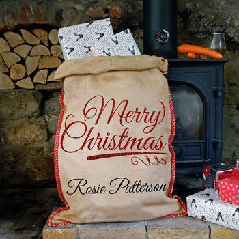 Personalised Glitter Christmas Sack