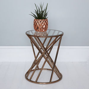 Round Copper Geometric Side Table - furniture