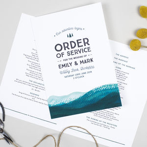 Adventure Wedding Order Of Service Booklet