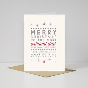Contemporary 'Brilliant Dad' Christmas Card