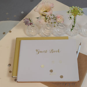 Calligraphy Leather Wedding Guest Book