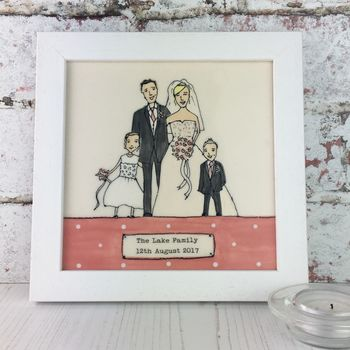 Framed Personalised Wedding Portrait Tile