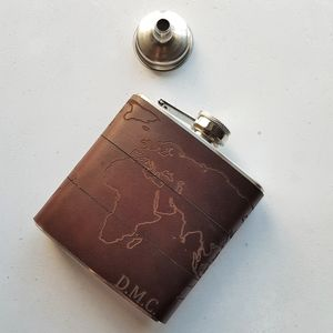 Personalised Atlas Leather Flask