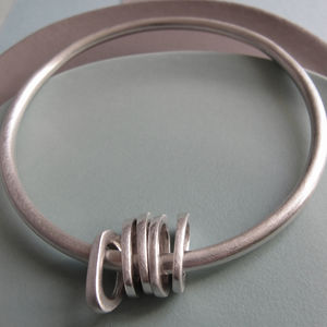Infinity Silver Bangle With Five Silver Oval 'charms'