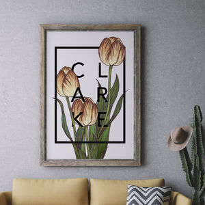 Personalised Tulips Botanical Flower Print - gifts from older children