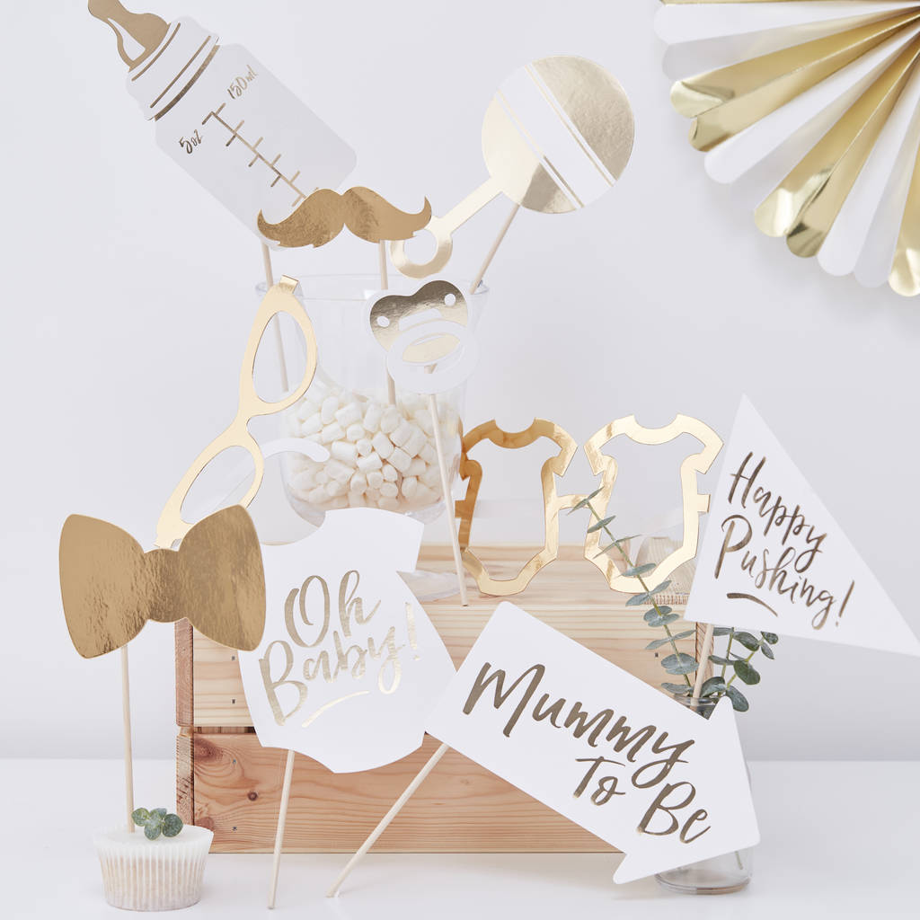White And Gold Baby Shower Party Photo Booth Props By Ginger Ray