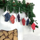 Patterned Mini Stockings, Eco Friendly Christmas Decor