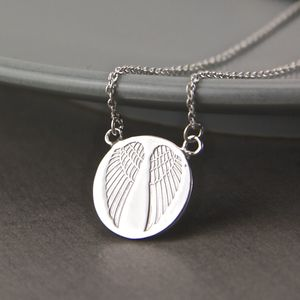 Sterling Silver Angel Wings Impression Necklace